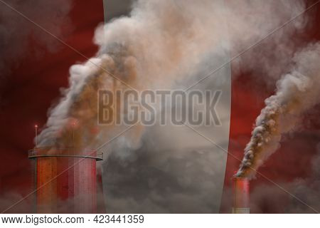 Global Warming Concept - Dense Smoke From Industrial Chimneys On Peru Flag Background With Place For