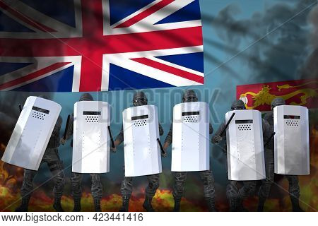 Fiji Protest Stopping Concept, Police Swat Protecting Law Against Riot - Military 3d Illustration On