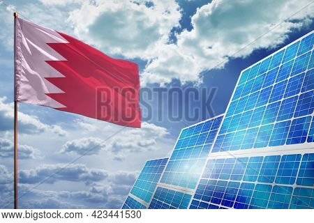 Bahrain Solar Energy, Alternative Energy Industrial Concept With Flag - Fight With Global Warming -