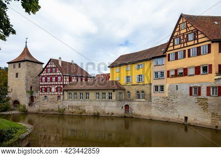 Old Tower And Historic, Medieval Half-timbered Houses In The Historic Center Of Schw Bisch Hall On T