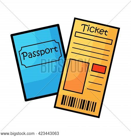 Vector Drawing Of A Blue Passport And Boarding Pass. Ticket And Passport. Cartoon Drawing Of Travel