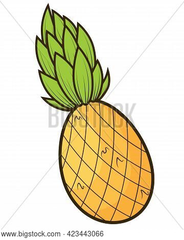 Pineapple Tropical Sweet Summer Fruit, Vector Graphic Icon. Yellow Pineapple With Green Leaves. Line