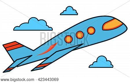 Vector Blue Plane With Clouds. Icon Of An Airplane Flying In The Sky With Clouds On A White Backgrou