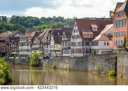 Historic, Medieval Half-timbered Houses In Historic Center Of Schwaebisch Hall On The Kocher River.