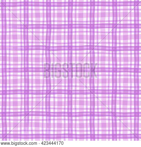 Pink Purple Lilac Vintage Checkered Background. Space For Graphic Design. Checkered Texture. Classic