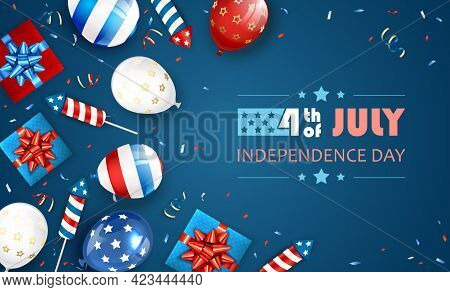 Blue Independence Day Theme. Lettering 4th Of July With Balloons, Gift Boxes And Rocket Fireworks. I