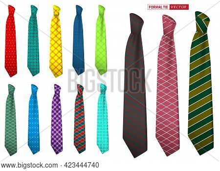 Set Of Realistic Elegant Men Tie Or Formal Tie For Office Uniform Or Various Accessory Necktie Colle