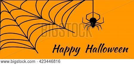 Happy Halloween Greeting Card. Angular Shape Cobweb. Orange White Background With Cobwebs And A Hang