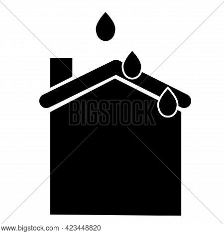 Water Leak Icon On White Background. Ceiling Leak Silhouette Sign. Leaking Roof Symbol. Flat Style.