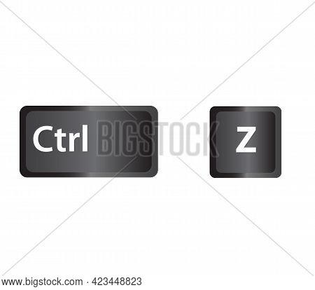 Ctrl Z Key Icon On White Background.  Keyboard Shortcut Icon For Your Web Site Design, Logo, App, Ui