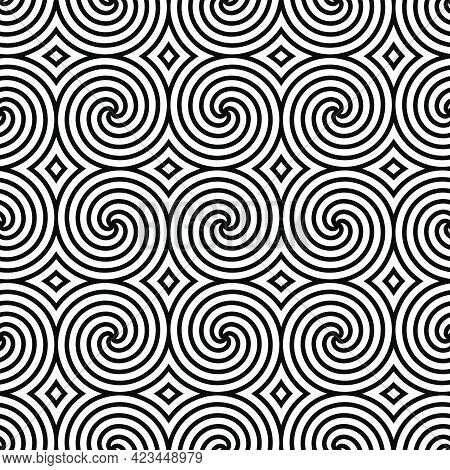 Black And White Seamless Pattern With Simple Spiral. Intricate Chaos Monochrome Abstract  Background