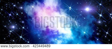 Abstract Cosmic Background With A Nebula And A Cluster Of Brilliant Stars