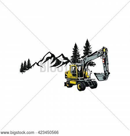 Illustration Vector Graphic Of Excavator Vehicle Design