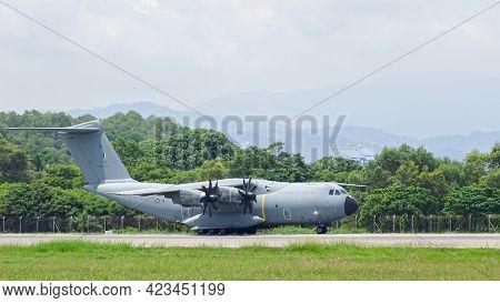 Kota Kinabalu,sabah-july 2,2019:royal Malaysian Air Force Airbus A400m-180 M54-04 Taxiing On The Run