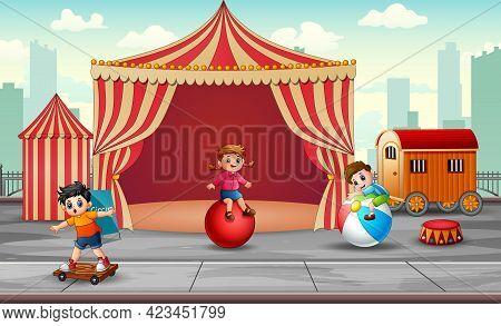 Cartoon Children Having Fun On The Amusement