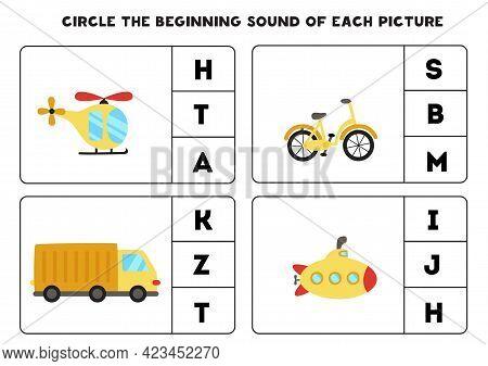 Worksheet For Kids. Find The Beginning Sound. Cartoon Transportation Means.