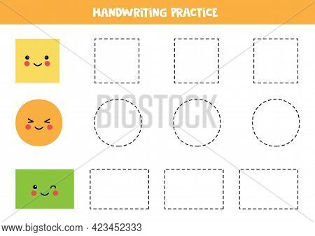 Tracing Contours Of Cute Circle, Square And Rectangle. Handwriting Practice For Children.