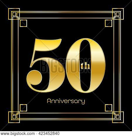 Number Fifty Logo Design With Square Ornament, Luxury Golden Design, Anniversary Concept, Vector Ill