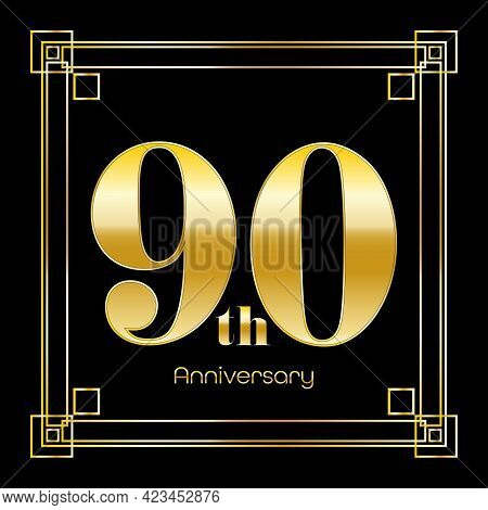 Number Ninety Logo Design With Square Ornament, Luxury Golden Design, Anniversary Concept, Vector Il