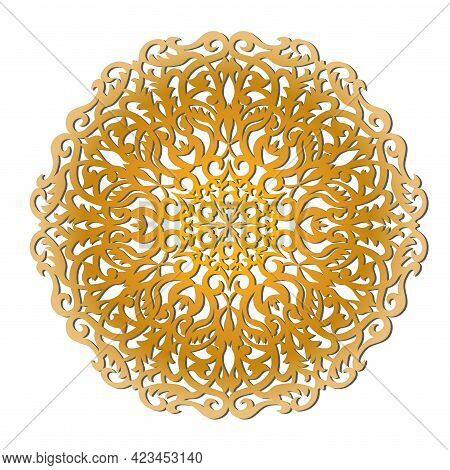 Gold Openwork Mandala. Suitable For Laser Cutting Or Foiling. One-line Vector.