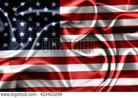 Close-up of silky American flag