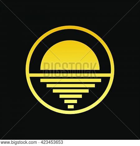 Gold Circle Geometric Horizon Logo Template Eps
