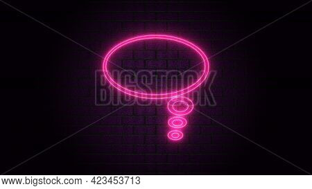 Blank Speech Bubble In Neon Style. Neon Light, Comic Speech Bubble Sign Icon. Chat Think Symbol. Roy