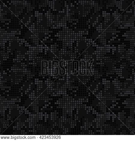Digital Black Camouflage, Seamless Pixel Pattern. Urban Clothing Style, Masking Dotty Camo Repeat Pr