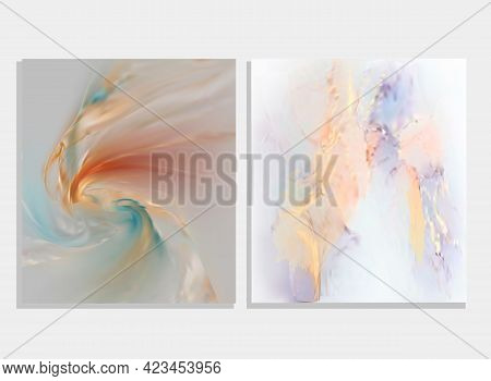 Aesthetic Liquid Marble Canvas Painting Background With Gold Glitter Splatter.