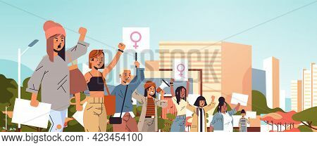 Mix Race Activists Holding Placards With Female Gender Sign Feminist Demonstration Girl Power Moveme