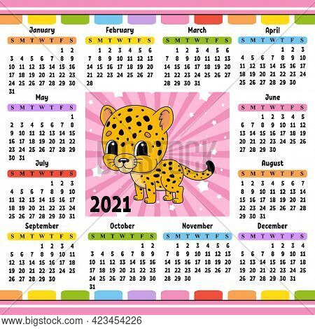 Calendar For 2021 With A Cute Character. Spotted Jaguar. Fun And Bright Design. Isolated Color Vecto