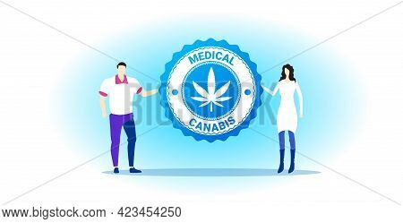 Man Woman Couple Holding Medical Cannabis Or Marijuana Leaf Logo Hemp Extract Cbd Ganja Legalize Dru