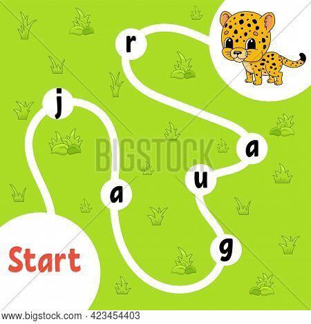 Logic Puzzle Game. Spotted Jaguar. Learning Words For Kids. Find The Hidden Name. Education Developi