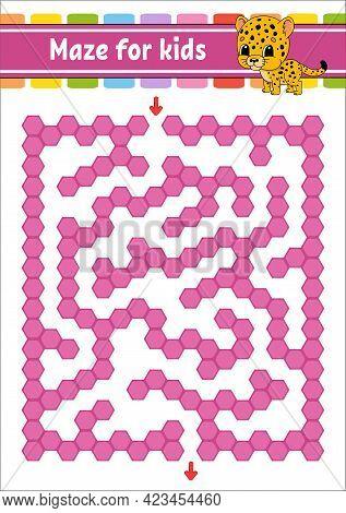 Rectangular Color Maze. Spotted Jaguar. Game For Kids. Funny Labyrinth. Education Developing Workshe