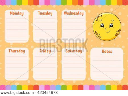 School Schedule. Cute Moon. Timetable For Schoolboys. Empty Template. Weekly Planer With Notes. Isol