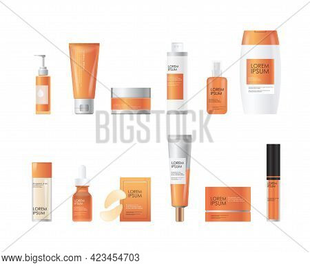 Set Cosmetic Or Perfume Bottles Beauty Spa Products Natural Cosmetology Skincare Packaging Branding