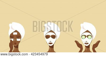 Young Woman Receiving Facial Mask Of Cucumber Wrapped In Towel African American Girl Cleaning And Ca