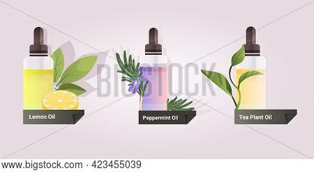 Set Dropping Essential Lemon Peppermint Tea Plant Oil Glass Bottles With Liquids Natural Face Body B