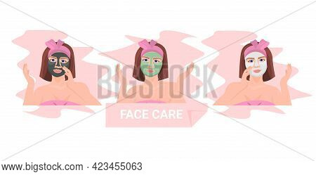 Set Young Woman Applying Different Clay Face Mask Skincare Spa Facial Treatment Concept Portrait Hor