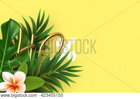 Tropical Leaves With 3d Golden 40 Percent Sign. Template With Copy Space For Summer Seasonal Discoun