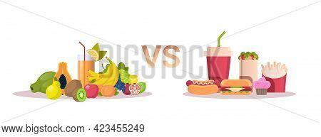 Food Choice Diet Concept Healthy Fresh Fruits Vs Junk Unhealthy Fast Food Horizontal
