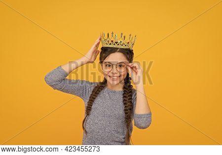 Smartest Princess. Long Awaited Reward. Little Smart Girl Wear Eyeglasses. Clever Child. Princess Co