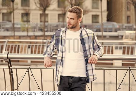 Trendy Lifestyle. Trendy Person Lean On Railing Urban Outdoors. Handsome Guy In Casual Style. Fashio