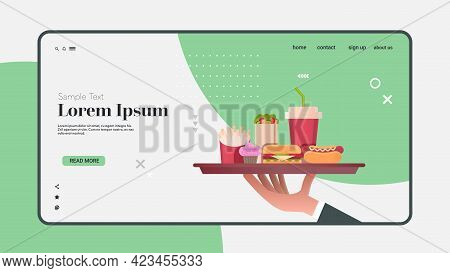Human Hand Holding Plate With Burger Hot Dog Cola And Cupcake Junk Unhealthy Fast Food Concept Horiz