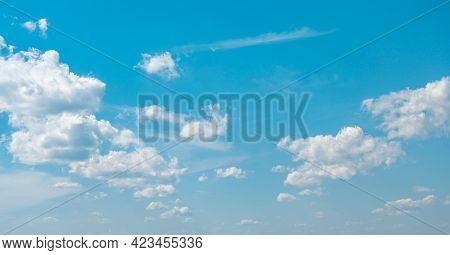 Panorama Sky And Clouds. White Cumulus Clouds On Clear Blue Sky Background Closeup, Overcast Skies B