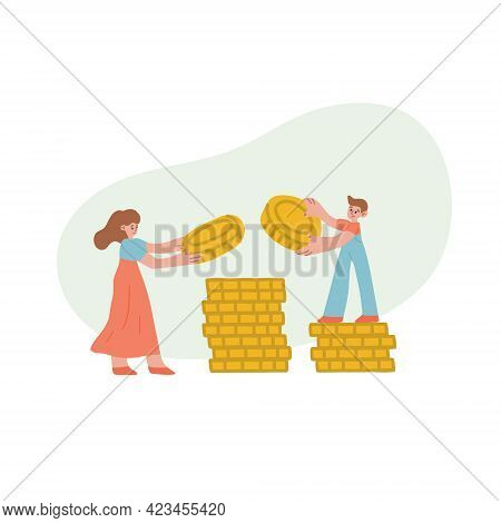 Mom And Son Are Stacking Coins In A Pile. Financial Literacy, Family Budget, Childrens Finance. Isol