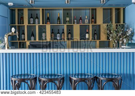 Moscow, Russia - June 06, 2021: Bar Counter On A River Cruise Ship. Bar Counter Of A Cruise Ship Int