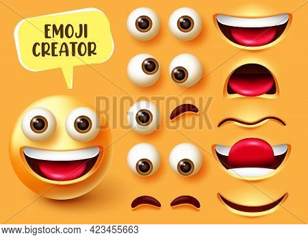 Emoji Creator Vector Set Design. Emoticon 3d Character Kit With Editable Face Elements Like Eyes And