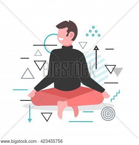Man Sitting Lotus Pose Guy Practicing Yoga Asana For Meditation Breathing Exercises Full Length