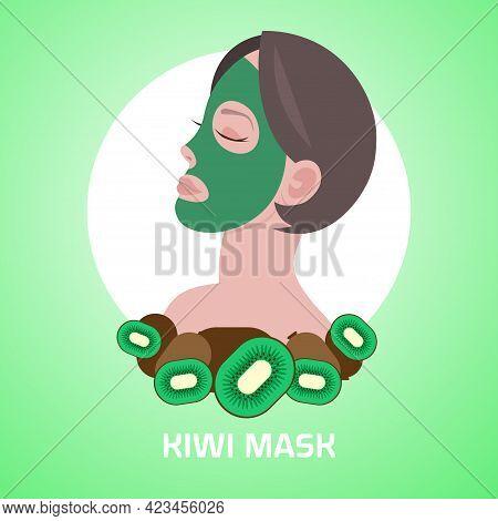 Young Woman Applying Kiwi Fresh Fruit Face Mask Facial Treatment Skincare Concept Portrait